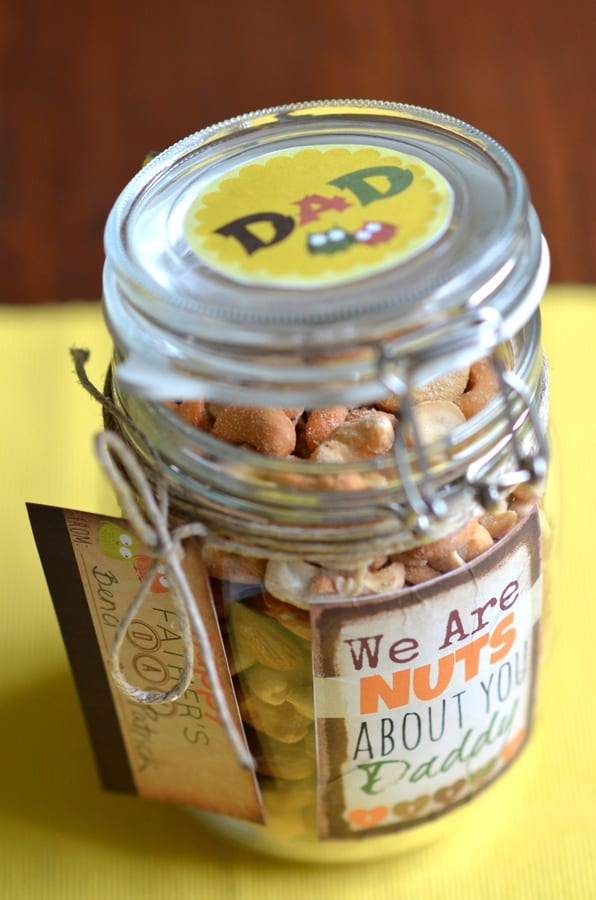Father's Day Gift { Nuts jar with Printable Labels}