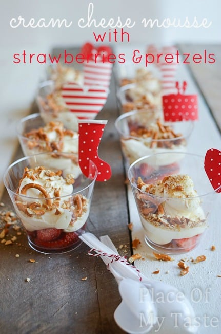 Cream Cheese Mousse w/strawberries and pretzels