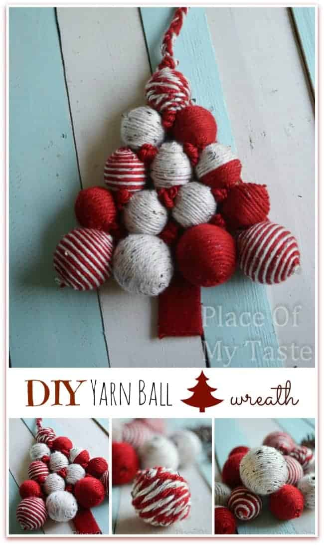 diy yarn ball christmas tree wreath - Christmas Ball Wreath