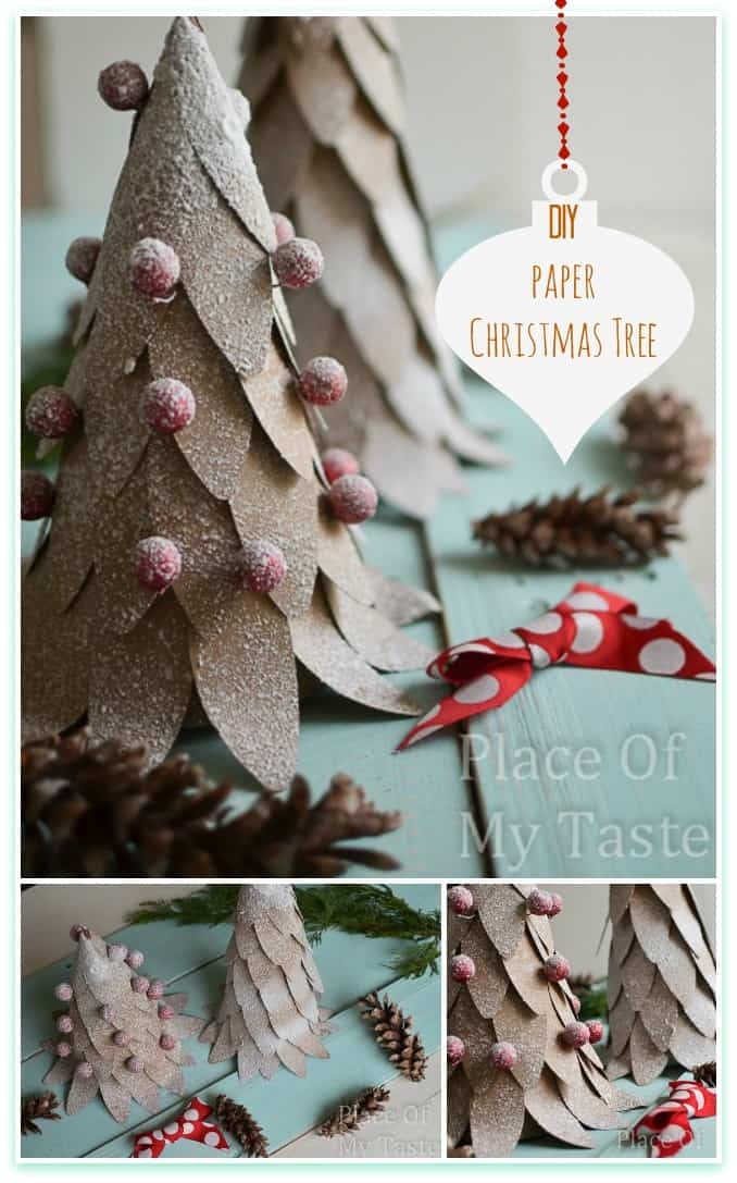 DIY Paper Christmas Tree @placeofmytaste.com  Let the Holiday Decorating Begin!