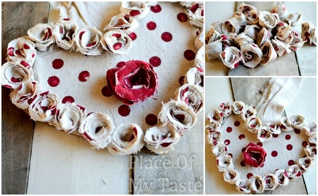 DROP CLOTH ROSETTE VALENTINE WREATH