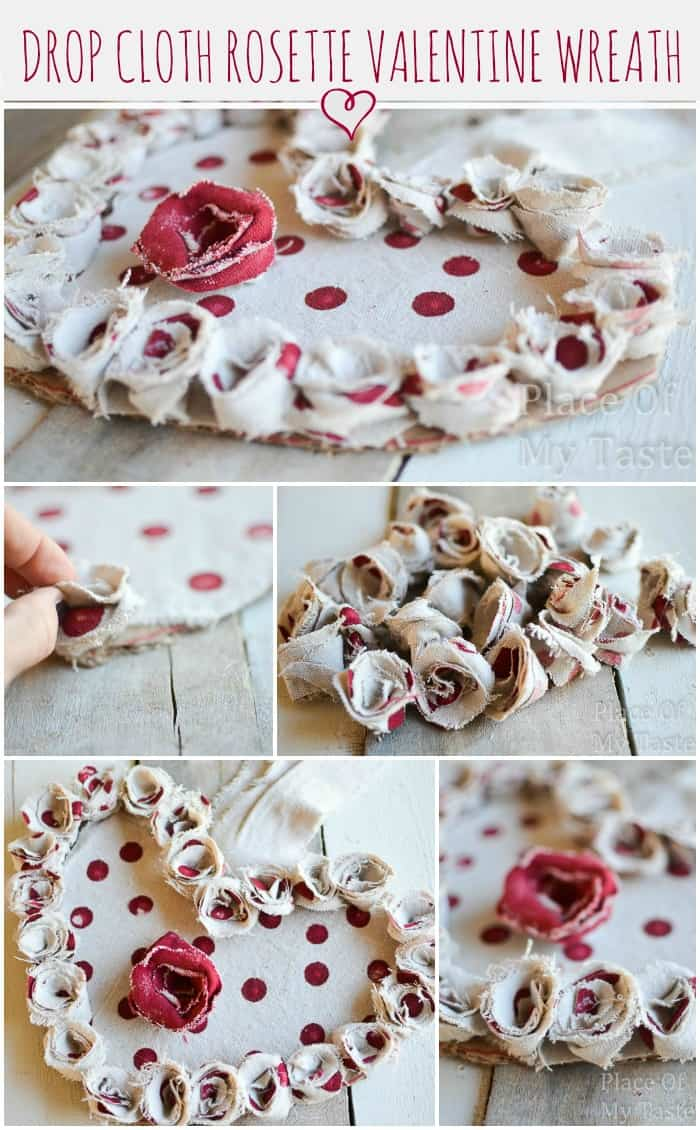 Make these easy drop cloth rosettes in no time to decorate your valentine wreath