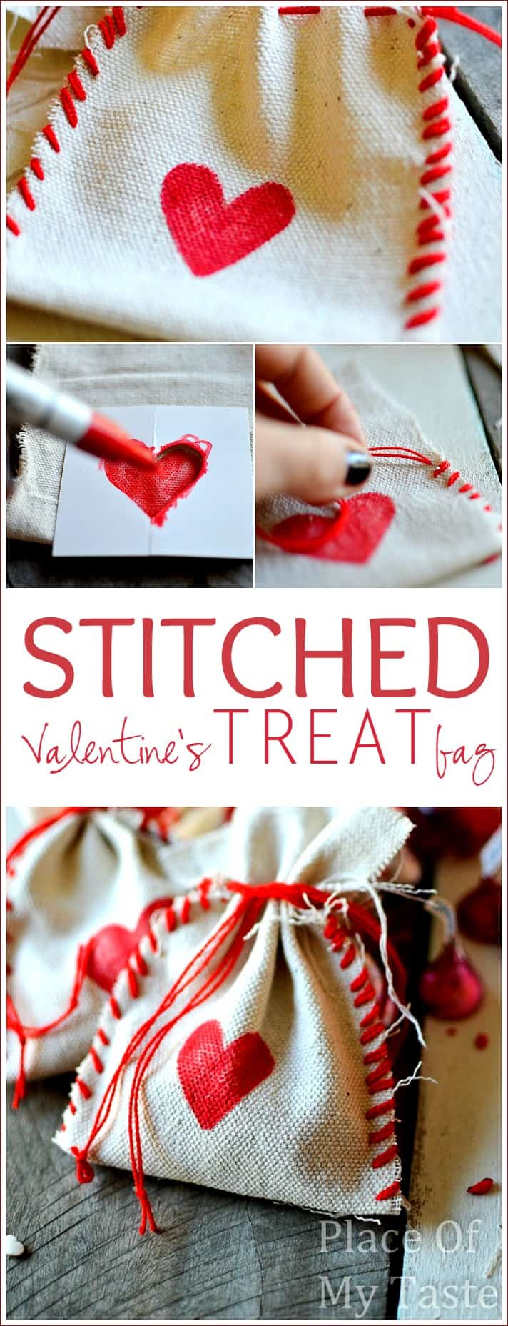 stitched valentines treat bags- Placeofmytaste.com DIY bag