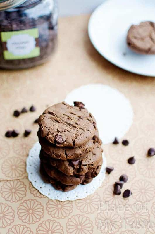 Double Chocolate Chip Cookies@placeofmytaste.com