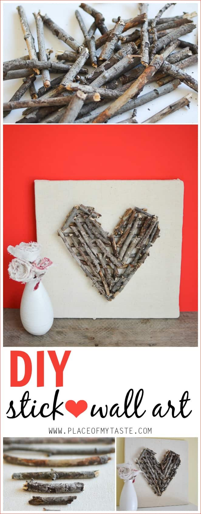 Valentine's Day Blog Hop: DIY stick heart wall art