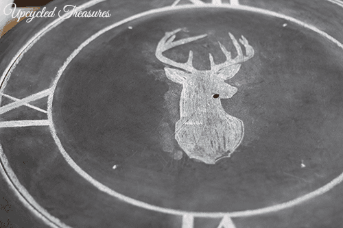 deer-silhouette-trasnferred-onto-clock-before-clean-up-upcycledtreasures