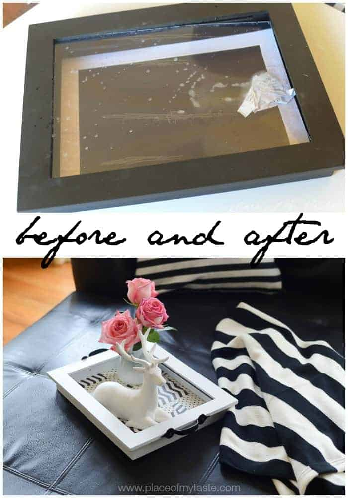 Before and after- DIY TRAY from and old picture frame | www.placeofmytaste.com
