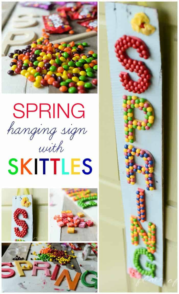 Spring hanging sign with Skittles-www.placeofmytaste.com