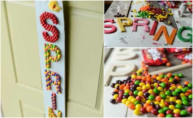 SPRING HANGING SIGN WITH SKITTLES