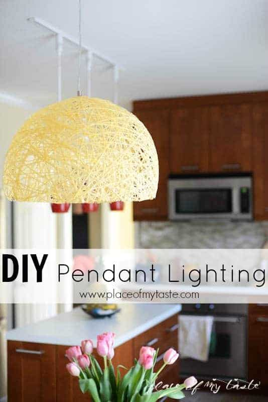 Diy pendant light with super bright led bulb place of my taste diy yarn pendant lamp with super bright leds by place of my taste mozeypictures Image collections