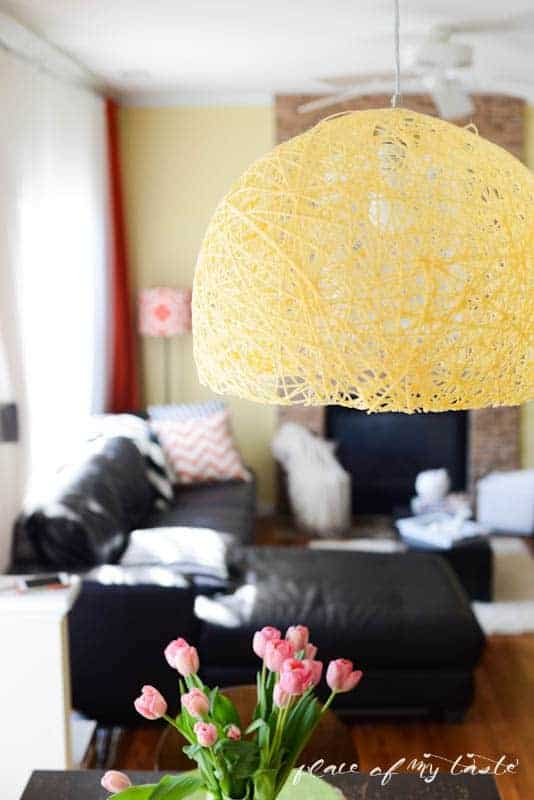 DIY Yarn pendant light with super bright led bulb by Place Of My Taste