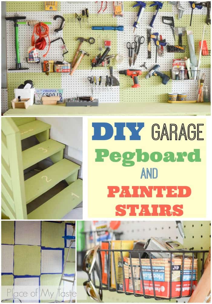 DIY garage pegboard and painted stairs