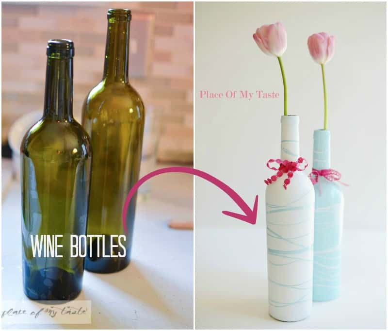 Painted Wine Bottle Vases Mothers Day Gift With Printable Place