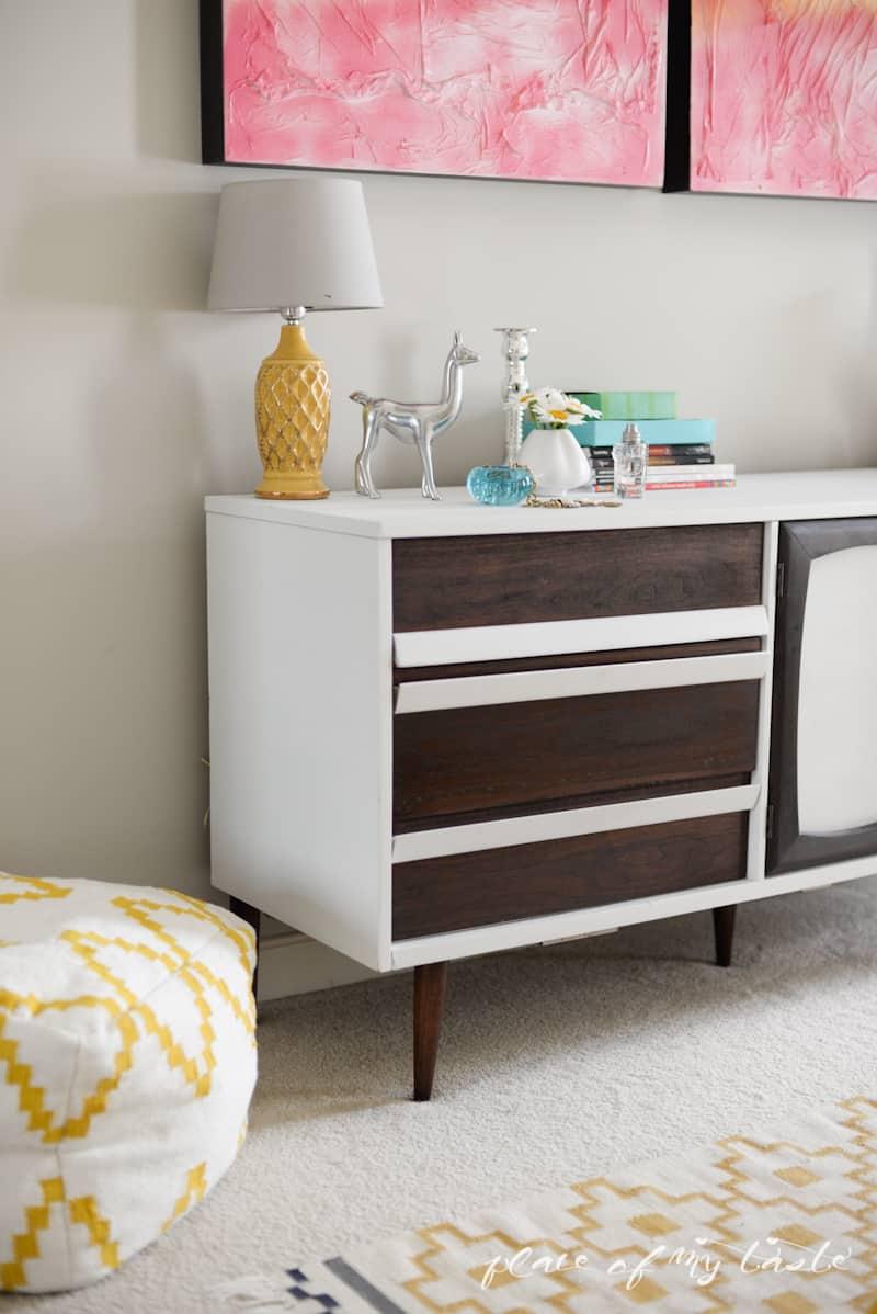 MidCentury modern dresser makeover - www.placeofmytaste.com
