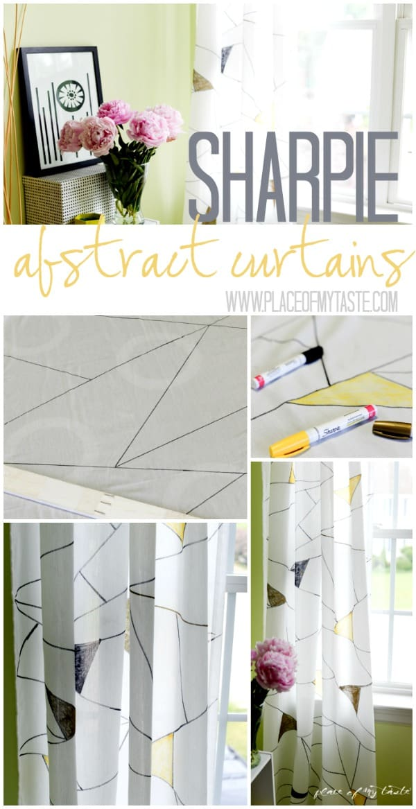 Sharpie Abstract Curtains WWW.PLACEOFMYTASTE.COM #PaintYourWay #pmedia #ad