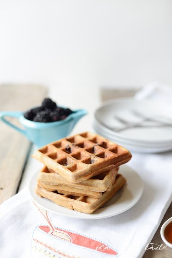 WHOLE WHEAT WAFFLES WITH BLACKBERRIES - PLACE OF MY TASTE