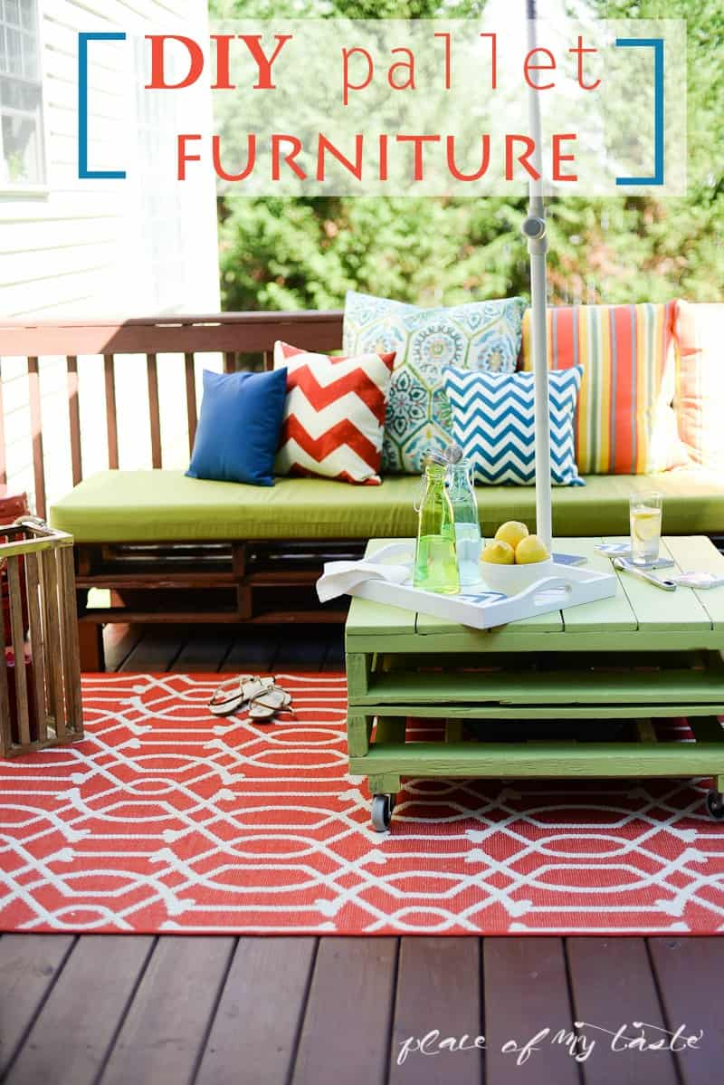 DIY pallet furniture-patio makeover- www.placeofmytaste.com - DIY PALLET FURNITURE A PATIO MAKEOVER