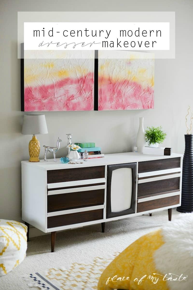 MidCentury modern dresser makeover - www.placeofmytaste