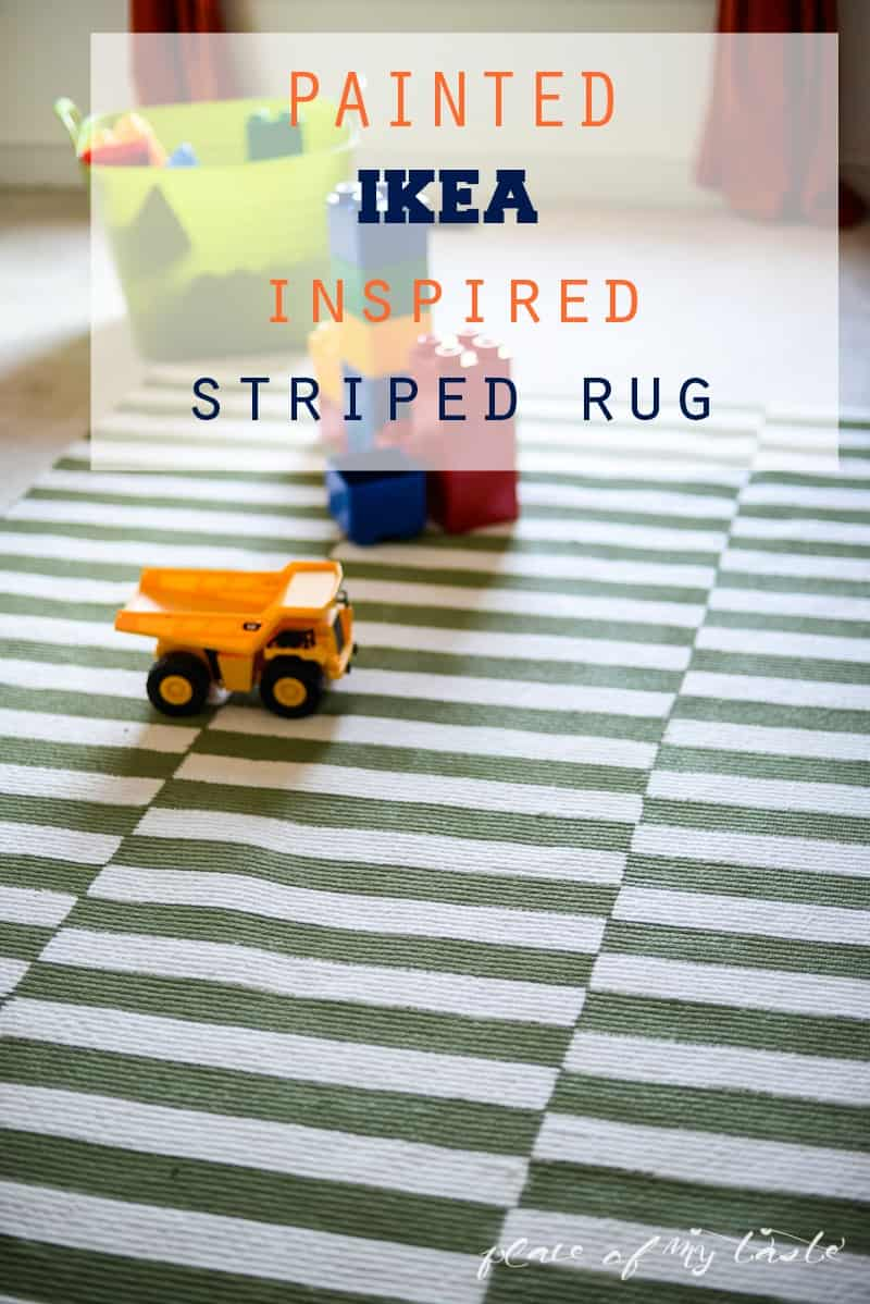 Painted IKEA inspired striped rug