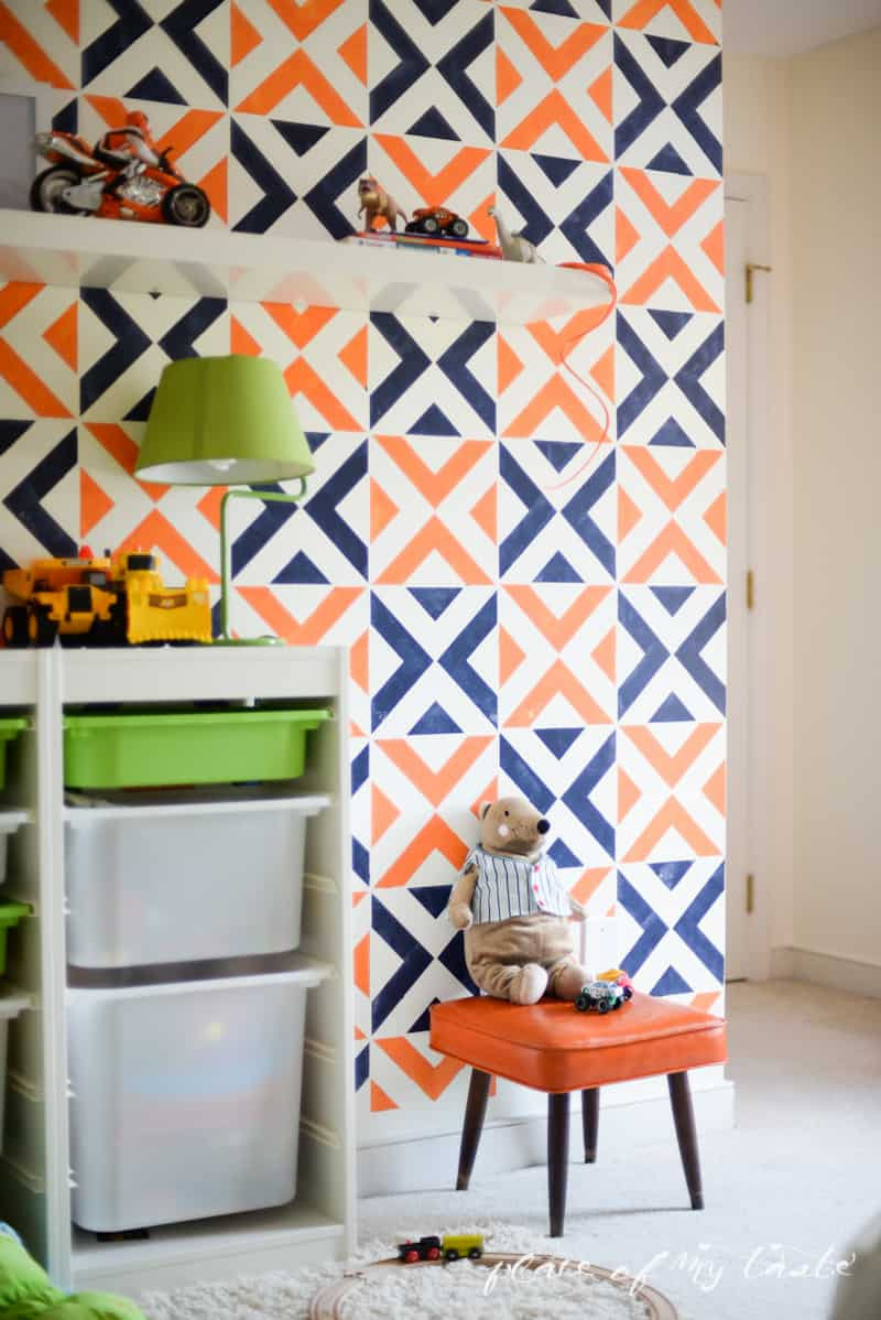 Stenciled accent wall with Royal Design Stencils (22)