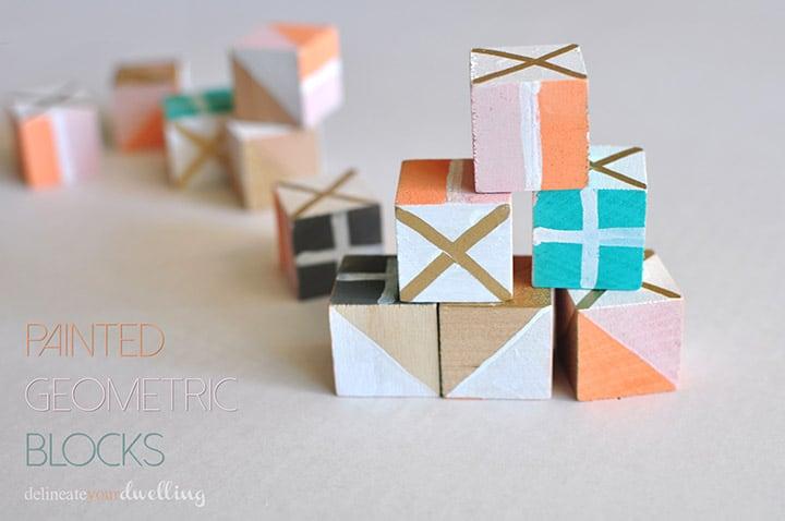 1 painted geometric block