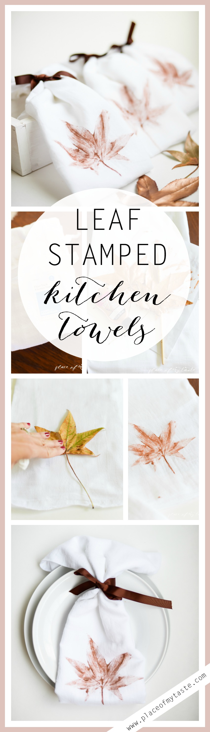 DIY LEAF STAMPED KITCHEN TOWELS - Placeofmytaste.com