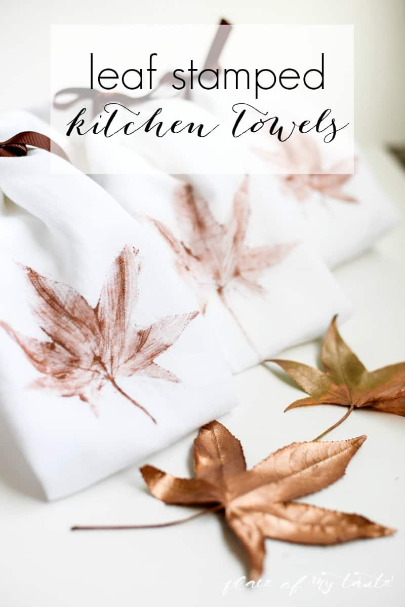 Leaf Stamped Kitchen Towels - PlaceOfMyTaste.com
