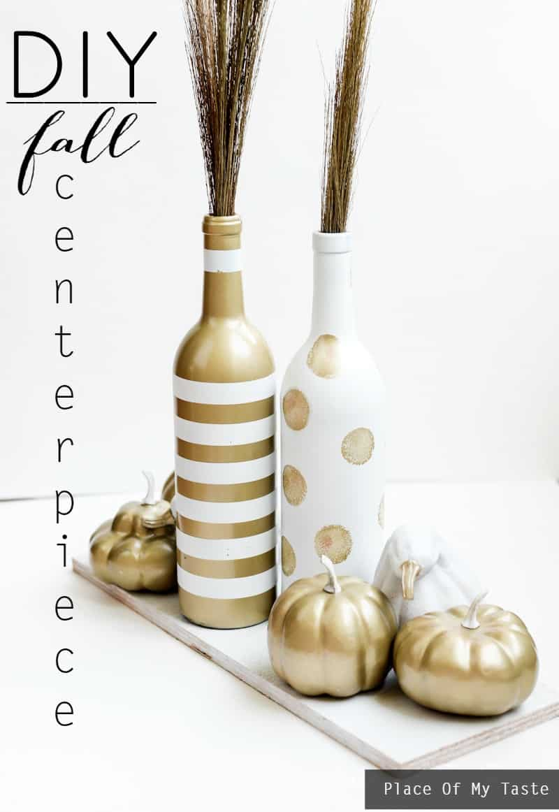 White and gold upcycled fall centerpiece- Place Of My Taste-