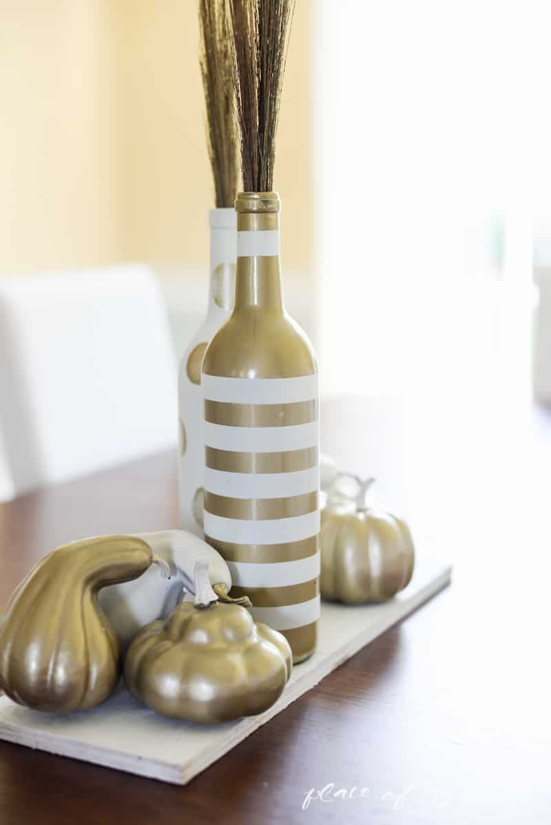 White and gold upcycled fall centerpiece- Place Of My Taste-5349