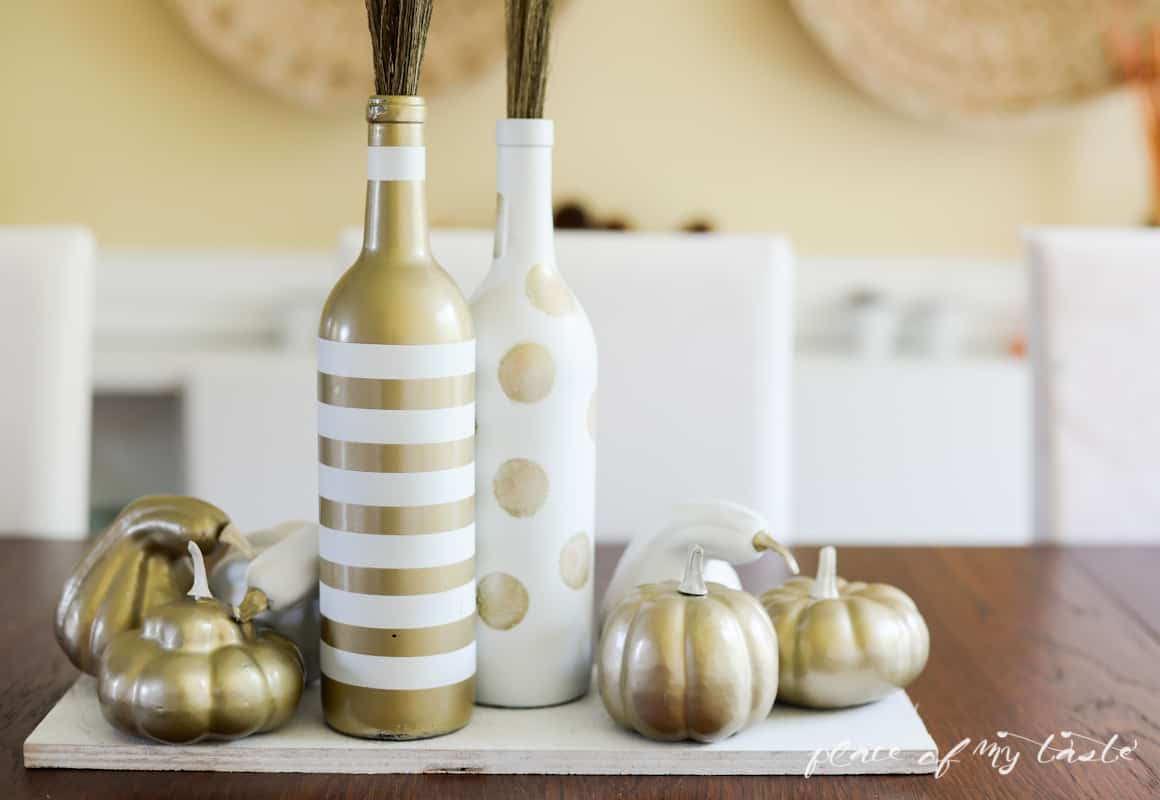 White and gold upcycled fall centerpiece- Place Of My Taste-5354