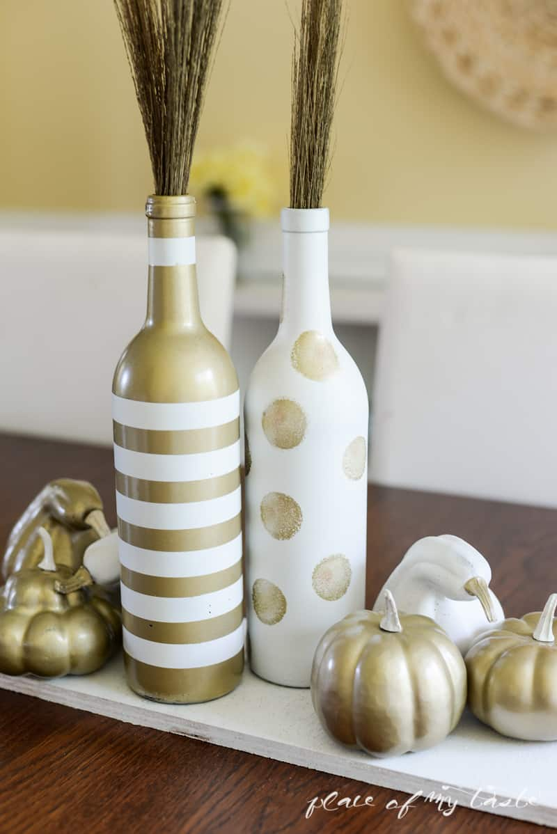 White and gold upcycled fall centerpiece- Place Of My Taste-5361