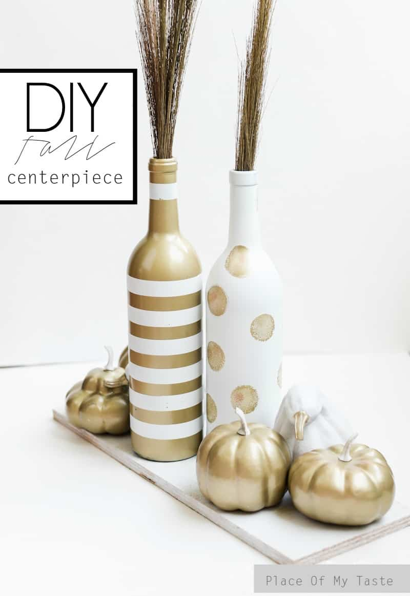 White and gold upcycled fall centerpiece- Place Of My Taste..