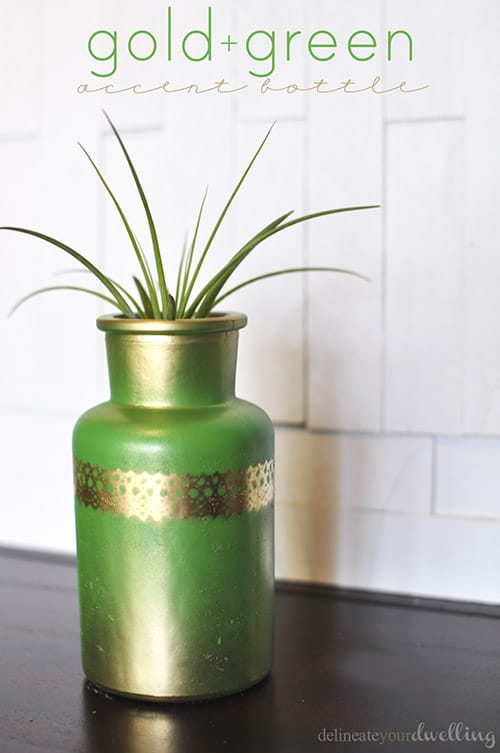 Gold + Green Accent Bottle