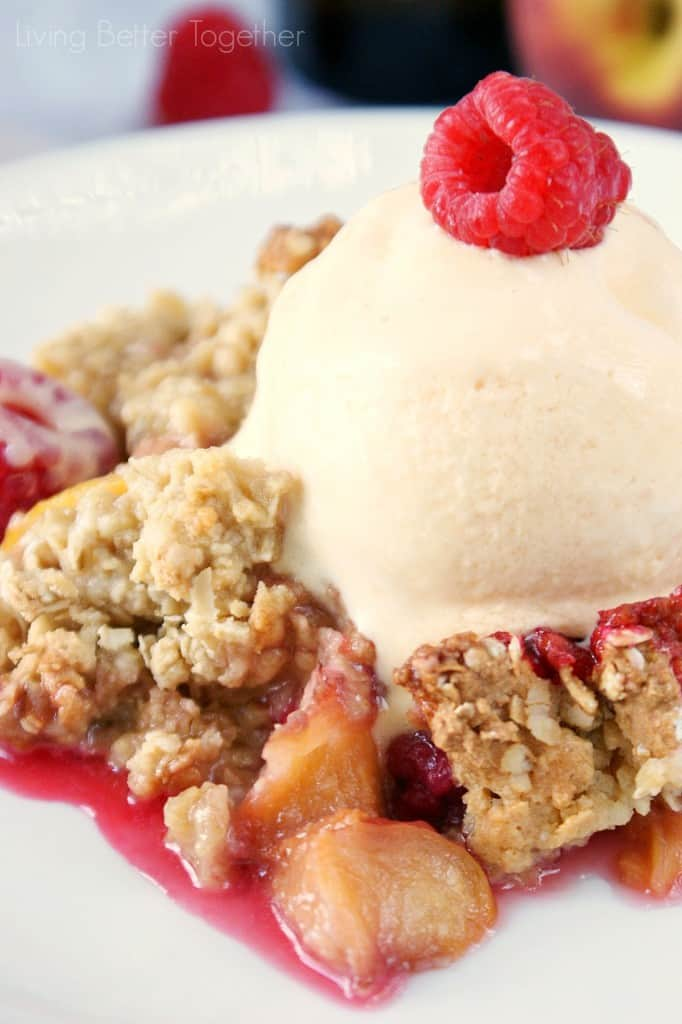 Raspberry and Peach White Balsamic Crisp