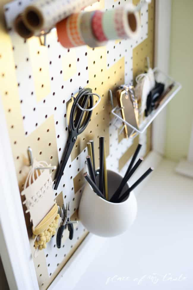 DIY pegboard organizer-gold and white-Placeofmytaste.com-8