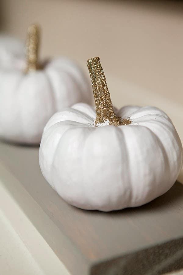 Fall Mantle Decor White Pumpkin close up