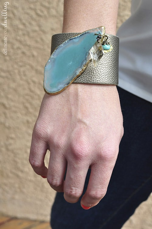 faux agate leather cuff