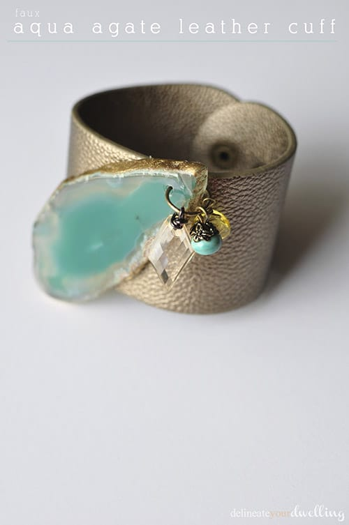 faux aqua agate leather cuff