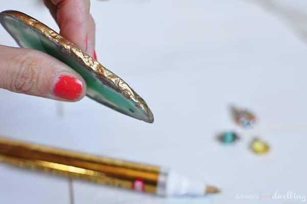 gold foil aqua agate