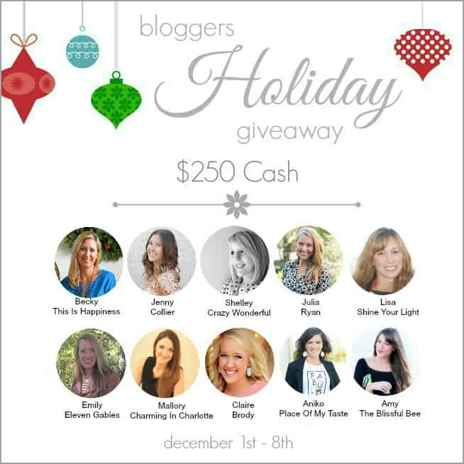 new blogger's holiday giveaway graphic