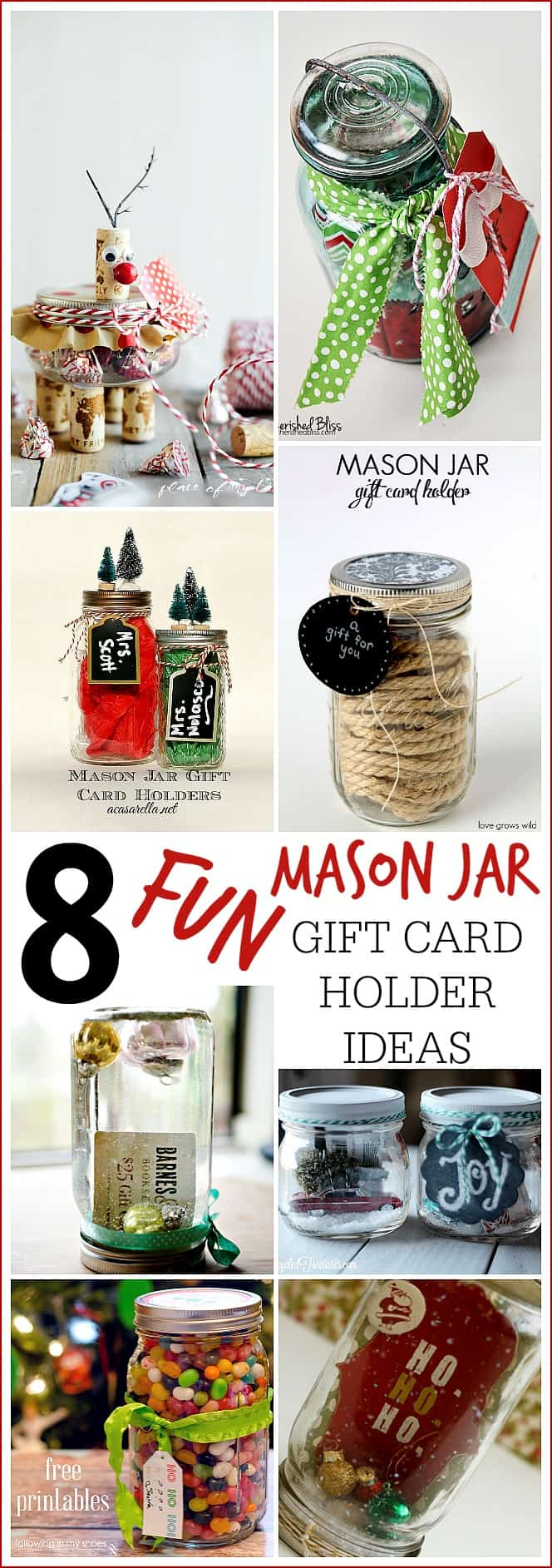 Reindeer Mason Jar Gift Card Holder 7 More