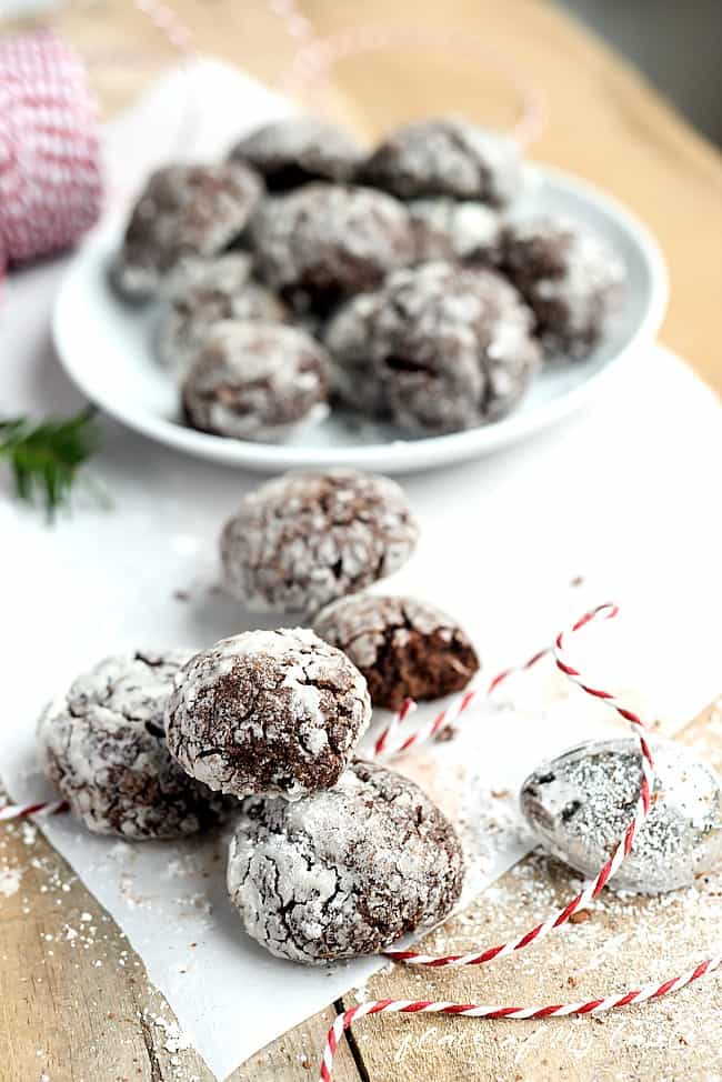 Christmas Recipes are the best! These Chocolate Crinkle Cookies are amazing!  This cookie recipe favorite is perfect for Christmas desserts or as a homemade gift for your neighbors and friends!