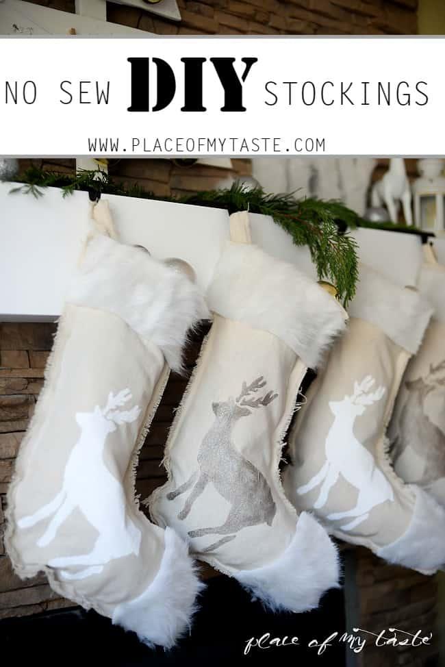 DIY NO SEW stenciled stockings -Placeofmytaste.com-