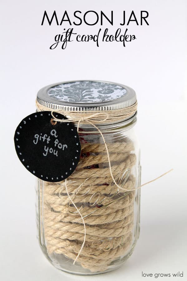 mason jar gift ideas gift card holder