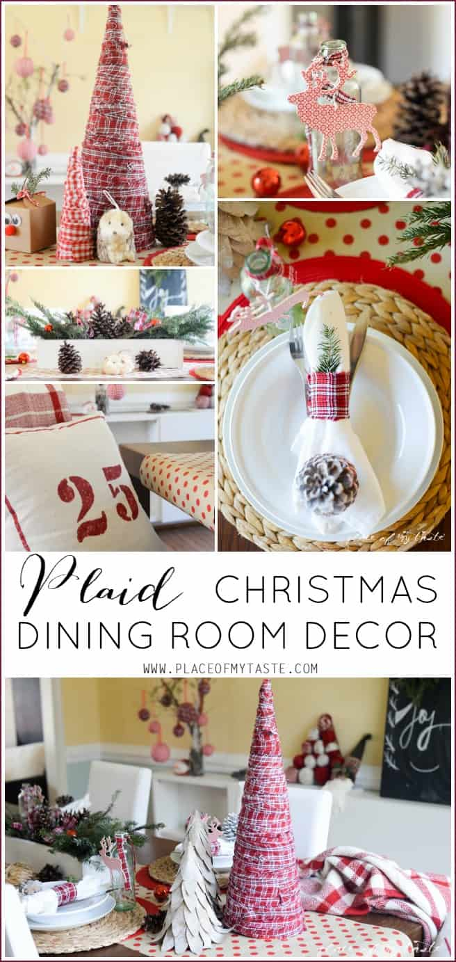 Plaid Christmas dinning room decor -Placeofmytaste.com
