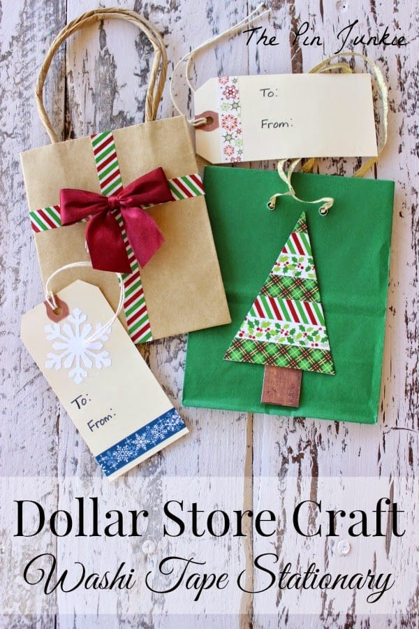 dollar store craft washi tape gift bags tags
