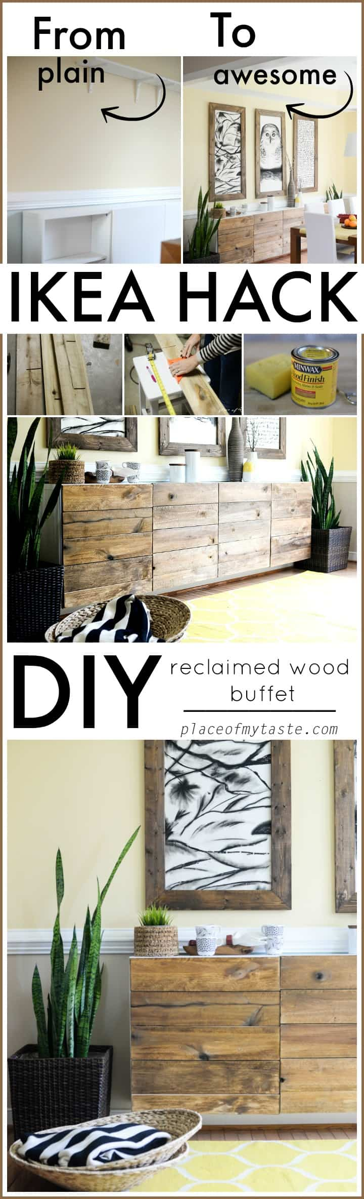 DIY RECLAIMED WOOD BUFET IKEA HACK