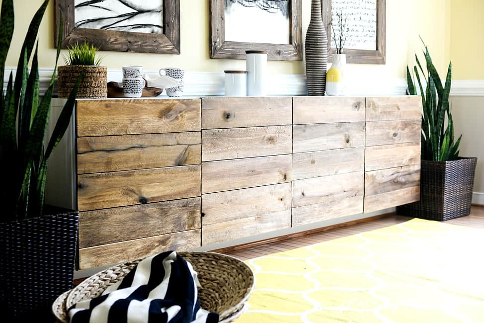 Reclaimed Wood Buffet  IKEA HACKS
