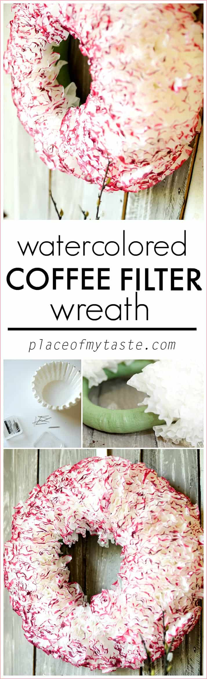 WATERCOLORED COFFEE PAPER WREATH