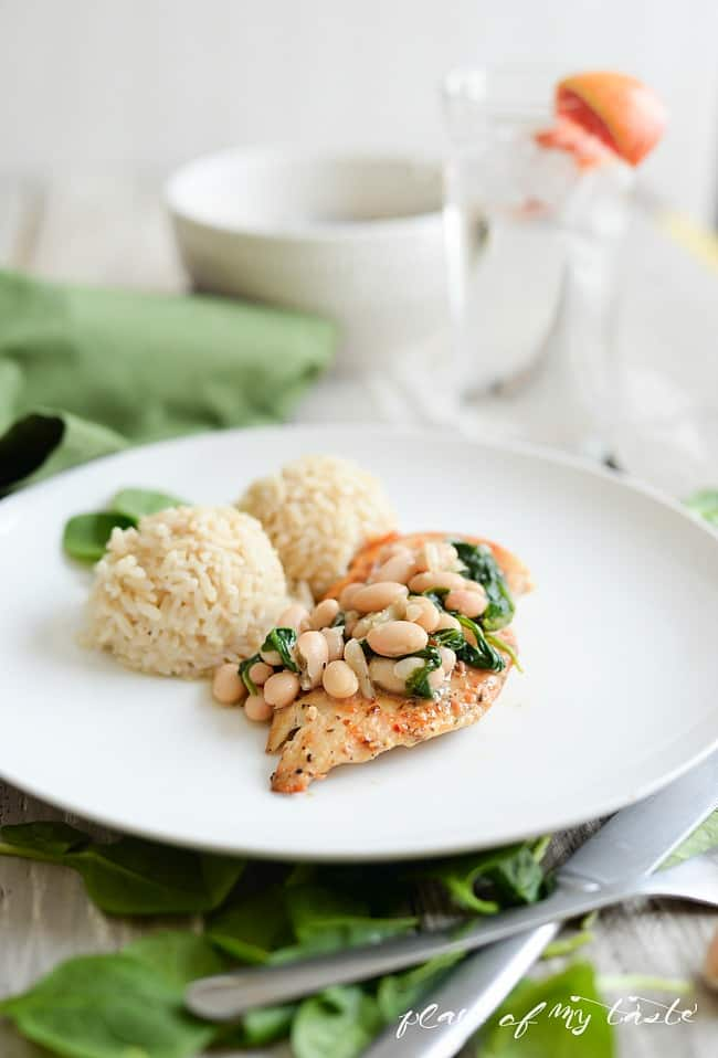 Chicken with beans and spinach-2